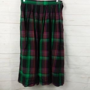 Liz Claiborne Plaid Rayon Wool Skirt 10